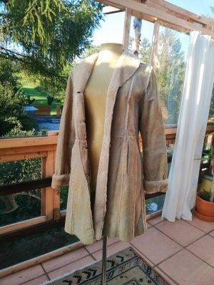 Manteau en cuir beige clair