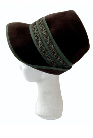 Traditional Hat dark brown-forest green
