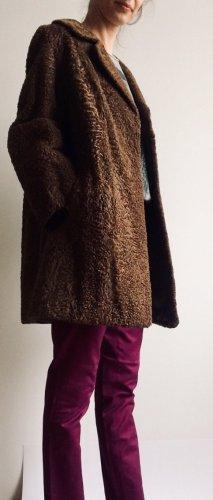 Futrzany płaszcz brązowy