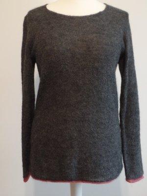 schöner grauer Pullover mit pinkem Saum, Gr. L, Rockamora