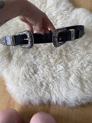 Primark Double Belt black-silver-colored