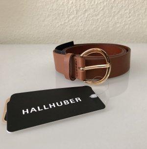 Hallhuber Cinturón de cuero marrón-color oro