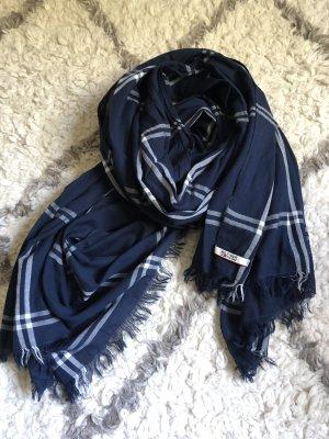 Tommy Hilfiger Denim Sciarpa con frange blu scuro-bianco sporco