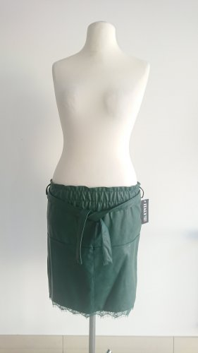 Made in Italy Faux Leather Skirt forest green