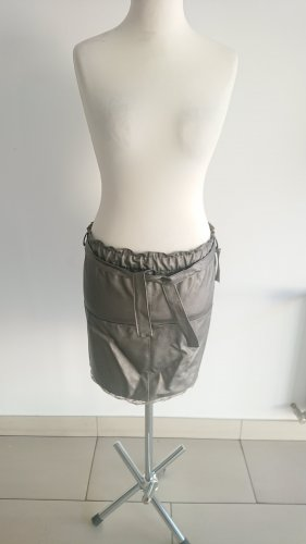Made in Italy Faux Leather Skirt light grey
