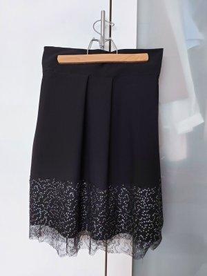 Asymmetry Skirt black-silver-colored