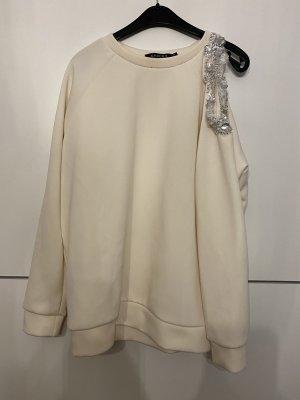 Choies Sweter z okrągłym dekoltem w kolorze białej wełny-srebrny