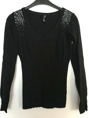 schöner Pullover mit Strass Glitzersteinchen an den Schultern
