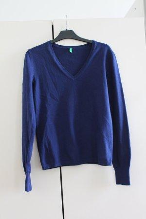 Benetton Sweter z dekoltem w kształcie litery V ciemnoniebieski Bawełna
