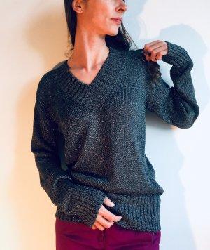 Dolce & Gabbana V-Neck Sweater silver-colored-grey