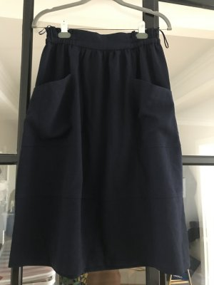 Zara Basic Spódnica midi ciemnoniebieski