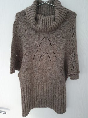 Ana Alcazar Poncho gris brun tissu mixte