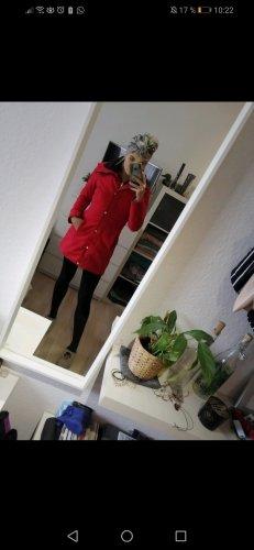 Cappotto con cappuccio rosso-rosso mattone