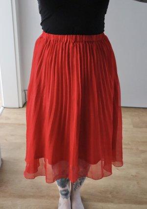 H&M Gonna pieghettata rosso-rosso mattone