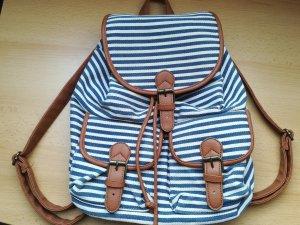 Schöner Rucksack Blau/Weiß/Braun
