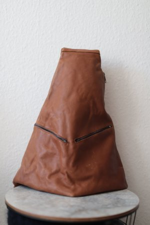 Vintage School Backpack cognac-coloured leather