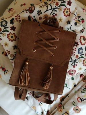 Plecak do przedszkola brązowy Zamsz
