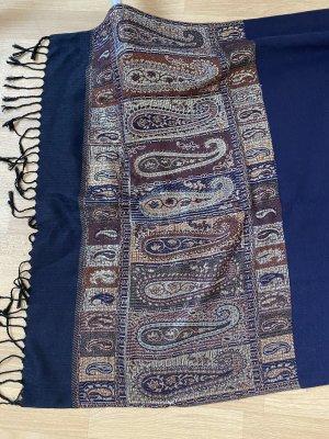 Schöner Schal Halstuch Scarf blau und gold aus Guatemala