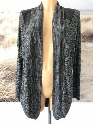 Schöner schwarz-grau melierter Cardigan * Größe L * Passt 38-42