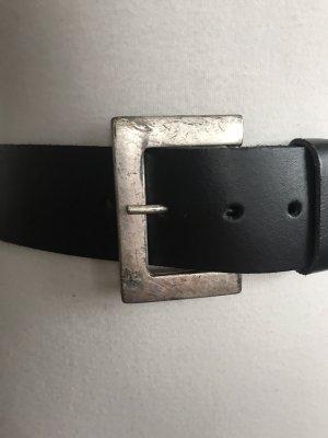 Vintage Ceinture en cuir noir-argenté cuir
