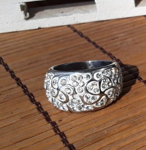 Crazy Factory Ring with Decorative Stone white-silver-colored
