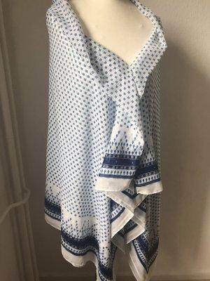 H&M Basic Chal veraniego blanco-azul oscuro