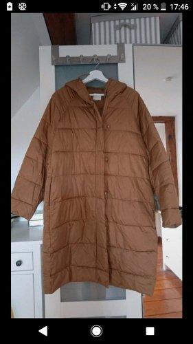 H&M Pikowany płaszcz brąz-jasnobrązowy Poliester