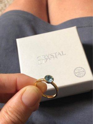 Swarovski Statement Ring gold orange-light blue