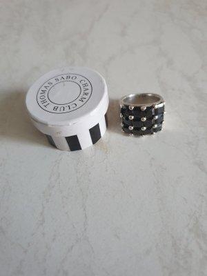 schöner Thomas Sabo Ring mit 12 schwarzen Steinen 925er Silber