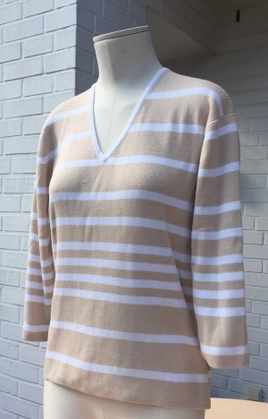 Brookshire V-Neck Sweater beige-white cotton
