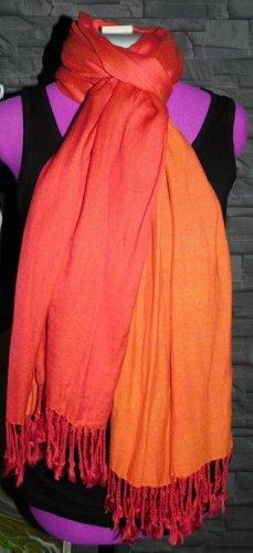 Écharpe à franges orange-rouge viscose