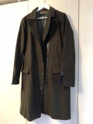 Cinque Manteau en laine vert foncé-noir