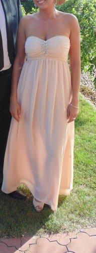 schönes Aprikosen Abendkleid, Träger mit Zirkonia 36-38
