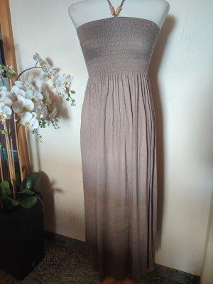 Sukienka z dekoltem typu bandeau taupe