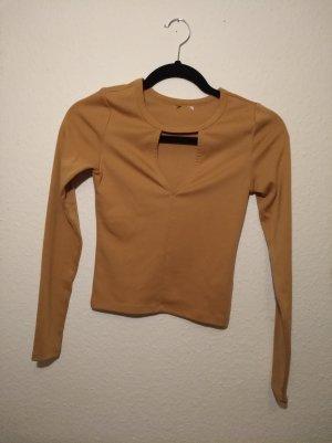 Zara Top cut-out color cammello-beige Tessuto misto