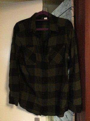 Hennes & Mauritz Camisa de franela gris verdoso Algodón