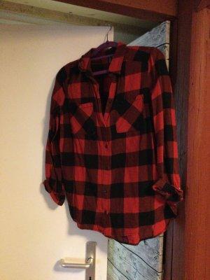 Hennes & Mauritz Camisa de franela rojo ladrillo Algodón