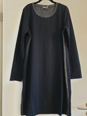 Schönes Geisha Kleid, langarm, tailliert, dunkelblau/ Silberstreifen, Gr. 3XL
