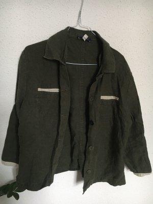 Camicia a maniche corte bianco sporco-verde scuro