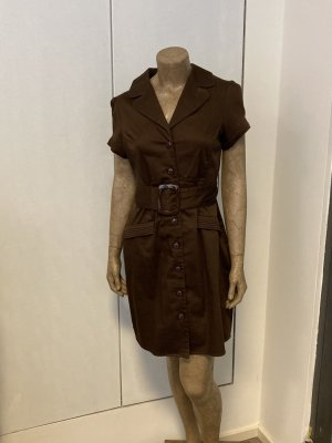 Koszulowa sukienka brązowy Bawełna