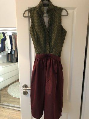 Almsach Vestido de manga corta verde oscuro-burdeos