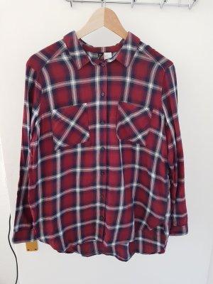 H&M Houthakkershemd zwart-karmijn