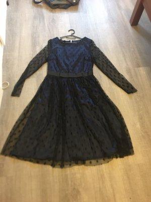 Apart  glamour Sukienka z długim rękawem czarny-ciemnoniebieski