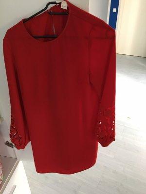 H&M Falda estilo lápiz rojo oscuro