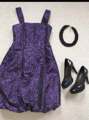 Sukienka z rękawem balonowym czarny-ciemny fiolet