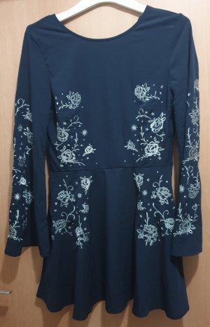 H&M Sukienka koktajlowa srebrny-ciemnoniebieski