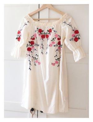 H&M Robe épaules nues blanc cassé