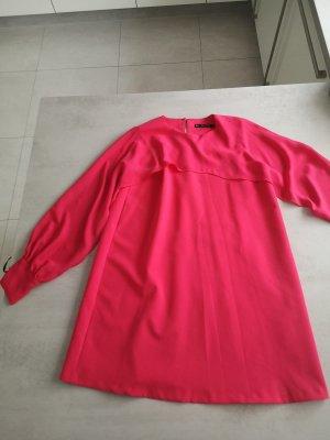 Zara Basic Sukienka z rękawem balonowym czerwony neonowy-malina