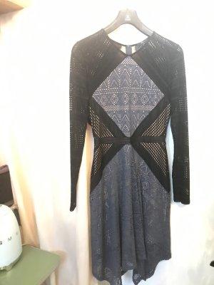 BCBG Maxazria Midi-jurk zwart-azuur