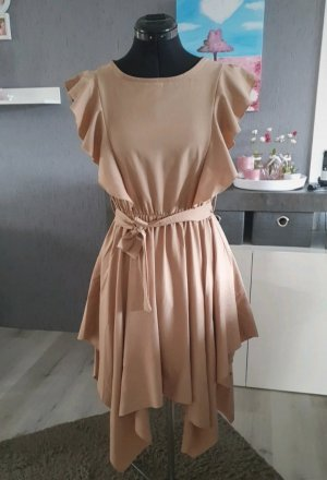keine Marke Sukienka z falbanami beżowy